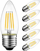 Best LVWIT Dimmable LED Candelabra Bulbs B11 Filament Bulb E26 Base 6W(60W Equivalent) 2700K Warm White Chandelier Decorative Candle Light Bulb 6 Pack Review
