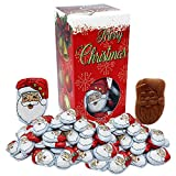 Christmas Caramel Milk Chocolate Santa's, Party Bag Fillers, Individually Wrapped Foils, Kosher Certified, 1 Pound