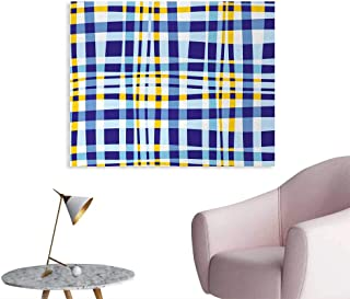 Tudouhoho Yellow and Blue Space Poster Retro Scottish Checkered Tartan with Color Stripes Lines Pattern Wallpaper Light and Violet Blue W36 xL24