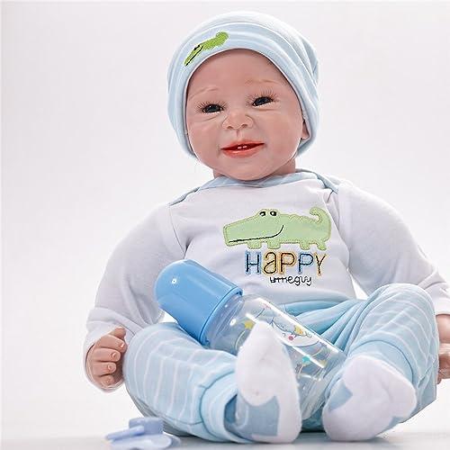 QXMEI Simulation Baby Rebirth Puppe Baby Silikon Spielzeug 55cm Boy,55cm