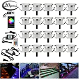 LED Deck Lights Kit, 20pcs Φ1.22' WiFi Wireless Smart Phone Control Low Voltage Recessed RGB Deck Lamp In-ground Lighting Waterproof Outdoor Yard Path Stair Landscape Decor, Fit for Alexa,Google Home
