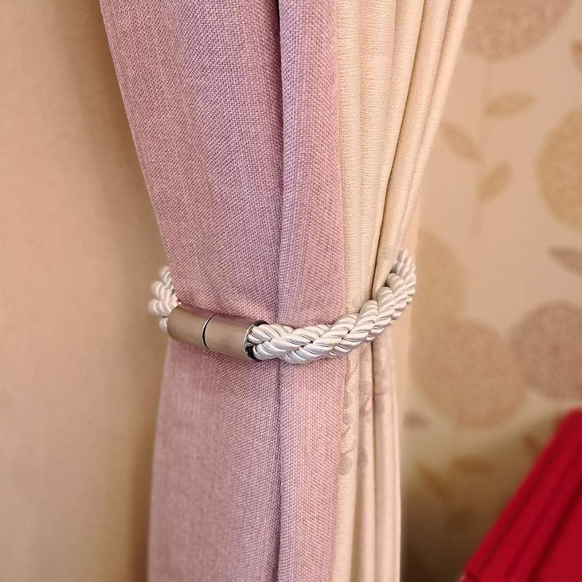 洞窟女性誕生LEDGOO カーテンバックル 2点セット カーテン留め飾り ロープタッセル マグネット ロープタッセル カーテン シンプル カーテン アクセサリー 房掛け バックル ホルダー 2個セット White