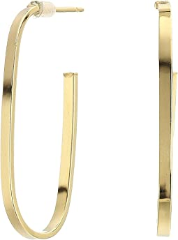 14KT Solid Gold Oblong Hoop Earrings
