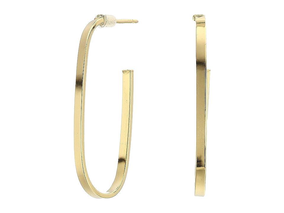 Dee Berkley - Dee Berkley 14KT Solid Gold Oblong Hoop Earrings