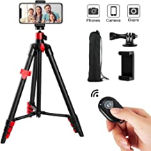 Phone Tripod, Cell Phone Tripod Travel Tripod with Bluetooth Remote Cellphone Holder 360 Panorama Ball Head for Camera GoPro/Mobile Cell Phone iPhone Xs/Xr/Xs Max/X/8/Galaxy Note 9
