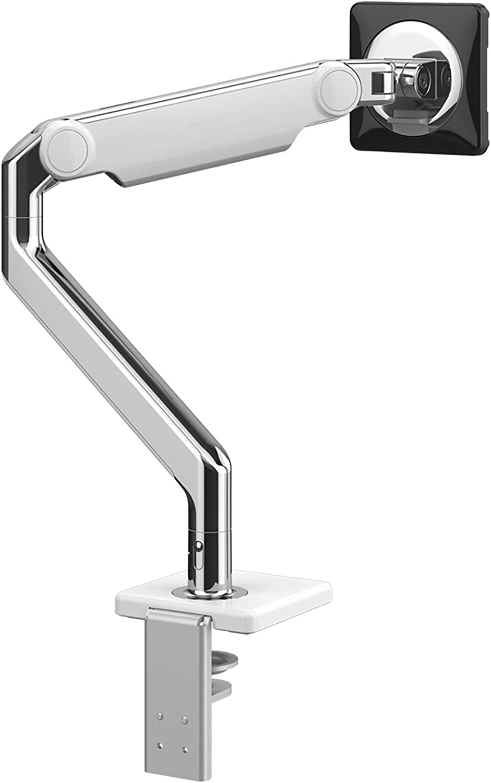 Humanscale M2.1 Monitor Arm   2 Piece Clamp Mount with Base   Angled Link/Dynamic Link   Standard Monitor Tilt   Standard Black Vesa Bracket 100mm x 100mm (Polished Aluminum with White Trim)