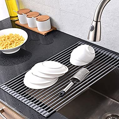 Comllen Best Large Commercial Kitchen Folding Small Mat Over the Sink Roll-Up Drying Rack, Dish Drying Rack Grey