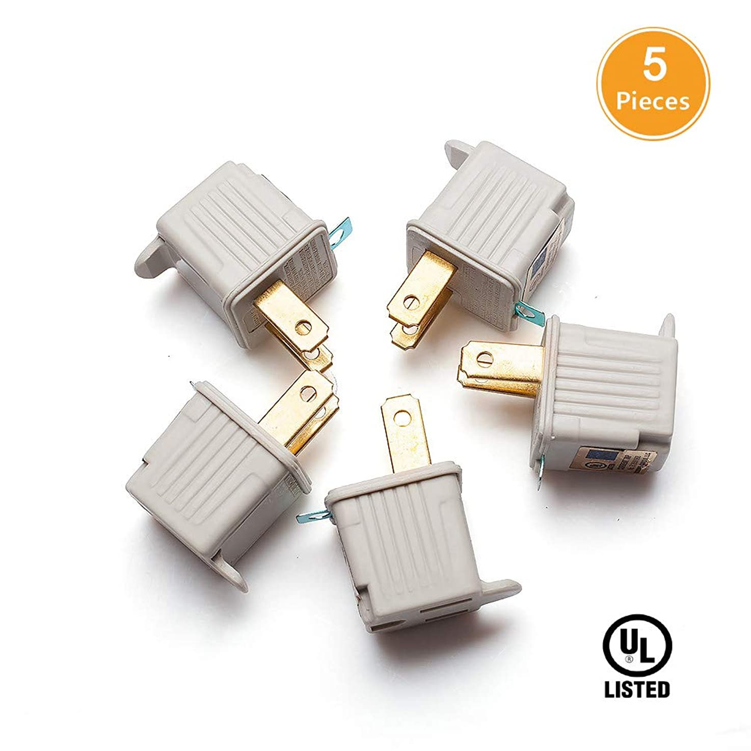 TENINYU Grounded Adapter 3-Prong to 2-Prong Outlet Converter (5 Pack) - 3 Pin to 2 Pin Plug Socket Adapter Extension for Electrical Cord, Household, Workshops, Industrial, Machinery-White kabzjndlhoarj3