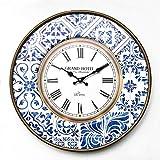 Rebecca Mobili Orologio da Appendere, Orologi da Muro Rotondo, Metallo, Bianco Marrone Blu, Stile Vintage - Diametro 50 cm x 4,5 cm - Art. RE6383
