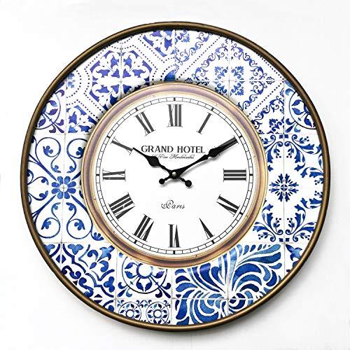 Rebecca Mobili Reloj Colgante, Reloj de Pared Redondo, Metal, Blanco marrón Azul, Estilo Vintage - Diámetro 50 cm x 4,5 cm - Art. RE6383