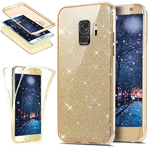 KunyFond Funda Samsung Galaxy S9 Plus,Carcasa Completo Frontal Trasera 360 Grados Silicona 3 en 1 A Prueba Golpes Purpurina Brillantes Colorida Parte Posterior Gold Glitter TPU Resisten Bumper-Oro