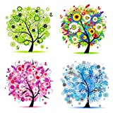 5D Diamond Painting Kits for Adults Kids,CooCu DIY Special Shape Rhinestone Crystals Painting Kit,Embroidery Arts Craft Home Decorations Wall Decor Decorative Drawing,Four Season Life Trees(Pack of 4)