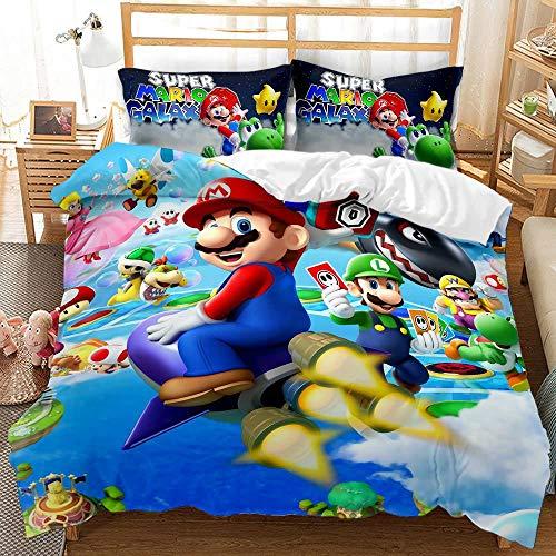 SK-YBB Super Mario Bros - Juego de ropa de cama para niños, funda nórdica con dibujos animados 3D Super Mario Bros Print para niños y adultos (A4, 155 x 220 + 80 x 80 cm)