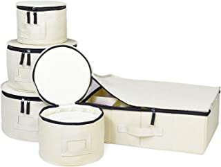 China Storage Set, for Dinnerware Storage and Transport, Protects Dishes, Cups and Mugs, Felt Plate Dividers Included (Cream)