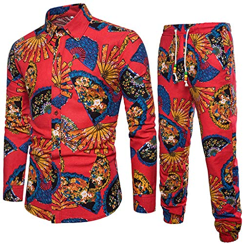 VEZAD Tracksuit Men Ethnic Style Printed Cotton and Linen Long-Sleeved Shirt + Pants Suit