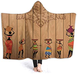 prunushome Stuffed Animal Blanket Aboriginal Girls Art Kids Huggable Pillow and Blanket Perfect for Pretend Play, Travel, nap time 60W by 50H Inches(with Hooded)