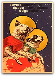 Lovely Soviet Space Dogs Vintage Poster Home Decor