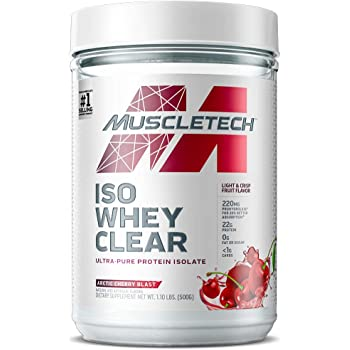 Whey Protein Powder | MuscleTech Clear Whey Protein Isolate | Whey Isolate Protein Powder for Women & Men | Clear Protein Drink | Arctic Cherry Blast, 1.1 Pounds (19 Servings)(Packaging May Vary)