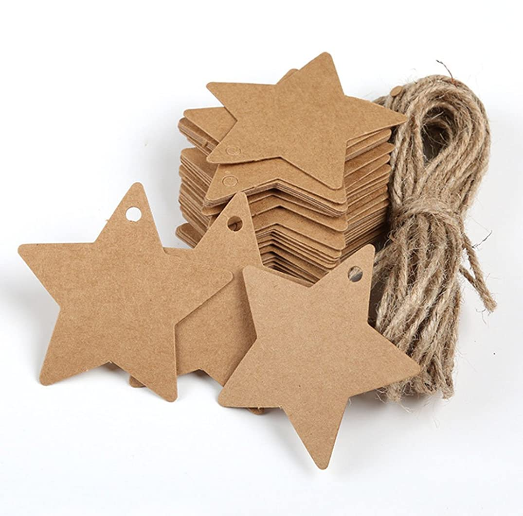 Wiwaplex 100 Pcs Christmas Gift Tags with String Kraft Paper Blank Vintage Style Star Shape With 100 Feet Jute Twine
