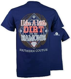 SC Classic Dirt on My Diamonds Ball Field Womens Classic Fit T-Shirt - Metro Blue