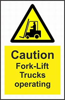 PaBoe Warning Caution Fork-Lift Trucks Operating Notice Warning Caution Safety Sign Tin Decor 8x12