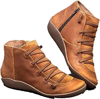 ⭐ Futurelove ⭐ 2019 Women's New Arch Support Boots-Leather Damping Shoes Side Zipper Booties,Casual Shoes Womens Ankle Boots Round Toe Leather Flat Retro Lace-up Boots Comfortable Boots