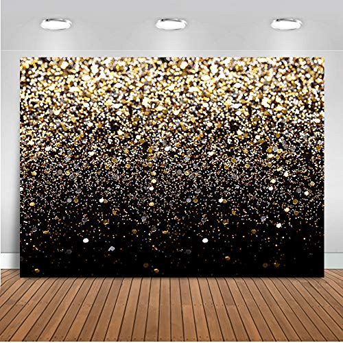 Mocsicka Black and Gold Glitter Backdrop 7x5ft Golden Bokeh Sequin Spots for Wedding Decorations Birthday Party Photo Backdrops Christmas New Year Family Picture Party Photography Background