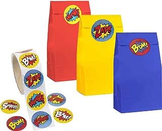kedudes 儿童派对包和贴纸 - 3 色纸袋,红色,黄色和蓝色,含 100 张*英雄贴纸(纸袋和贴纸)
