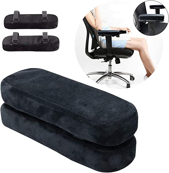Memory Foam Chair Armrest Pads Elbow Pillows Anti Slip Arm Rest Covers Universal Chair Arm Cover For Home Office Wheelchair 2 Piece Set Black