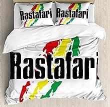 Juego de sábanas Rasta de 3 piezas Juego de fundas nórdicas, letras Rastafari reggae en colores de la bandera del diseño del grunge Lámina artística, juego de fundas de edredón / edredón de 3 piezas c