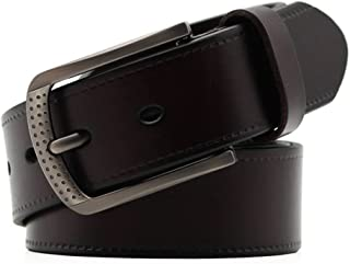 Men's Belt Buckle Leather Belt Leisure Male All-Match Belt (Color : Coffee, Size : XXL)