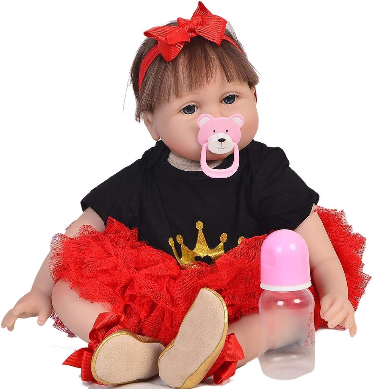 DMZH 55cm Reborn Babypuppen, Kopf und Gliedmaen aus Silikon, Stoff Karosserie, Kinder Spielzeug Geburtstag Weihnachten Geschenke