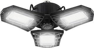 Saanpaan 60W LED Garage Lights,144 LEDs 6000 Lumens 6500K 3-Leaf Garage Ceiling Light Fixtures, LED Shop Light with Adjust...