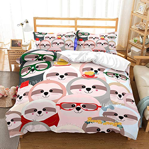 choicehot Animal Theme Duvet Cover Sets Kids' Bedding Set Ultra Soft Microfiber Cartoon Sloth Colorful Girls Boys Children's Quilt Cover Bedding Set, 1 Duvet Cover + 1 Pillowcases(Single Size)