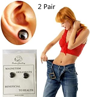 Kuulee 2 Pair Bio Magnetic Healthcare Earring Weight Loss Earrings Slimming Ear Healthy Stimulating Acupoints Stud Earring Magnetic Therapy