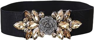 E-Clover Fashion Floral Rhinestone Buckle Women's Elastic Waist Cinch Belt for Dress for Waist Size 25''-32''