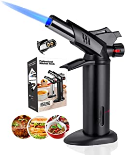 Butane Torch, Blow Torch - Professiona Chef Culinary Torch Lighter with Safety Lock and Adjustable Double Flame for Cookin...