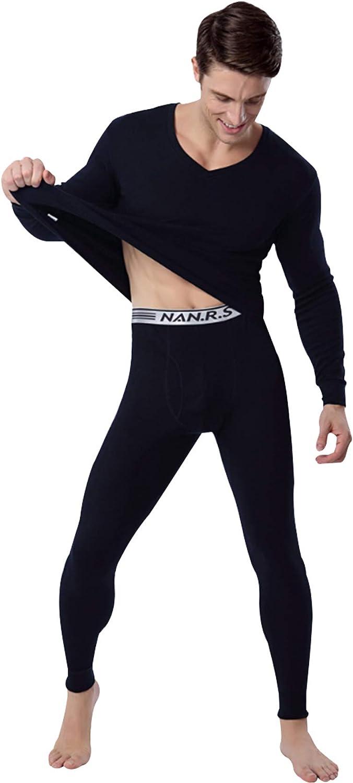 Jueshanzj Men's Cotton V-Neck Thermal Underwear Set