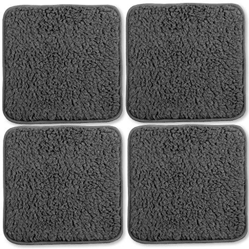 Bestlivings Stuhlkissen Lammflor Sitzkissen Sitzunterlage Polsterauflage 4er Pack 36x36 cm dunkelgrau - anthrazit