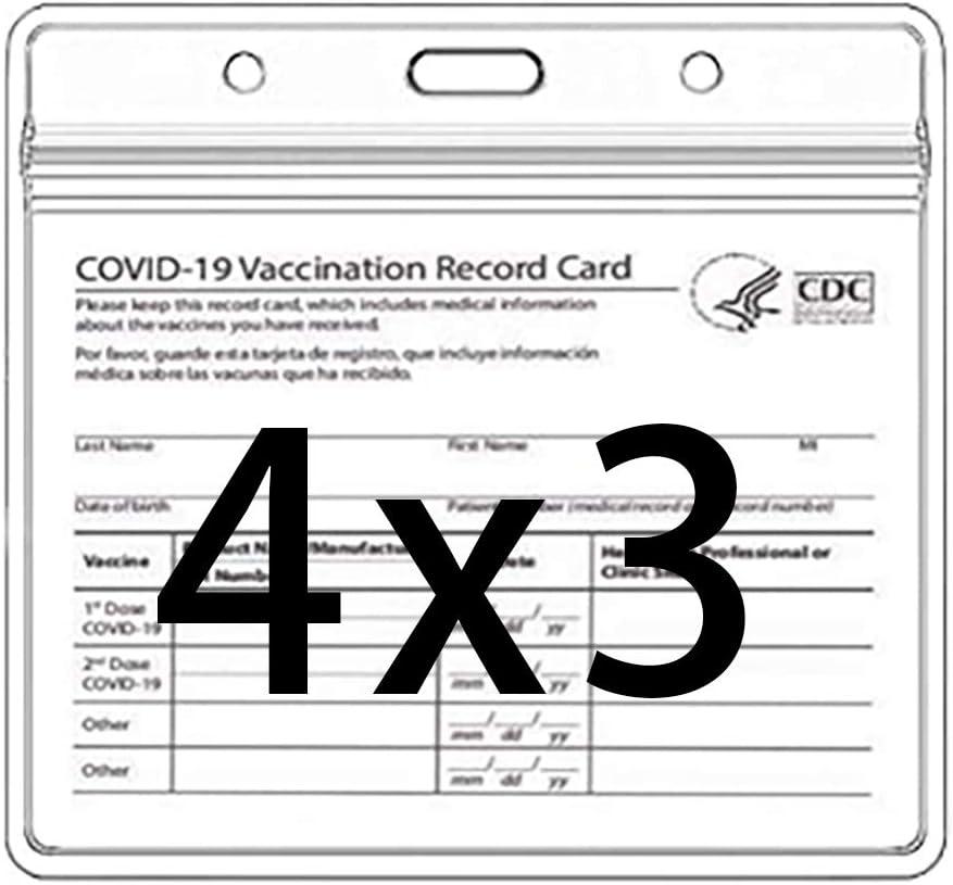 Custom COVID Vaccination Card Holder Vaccination Card Holder Waterproof Vaccine Record Holder 4 x 3 Badge Holders Plastic Protector