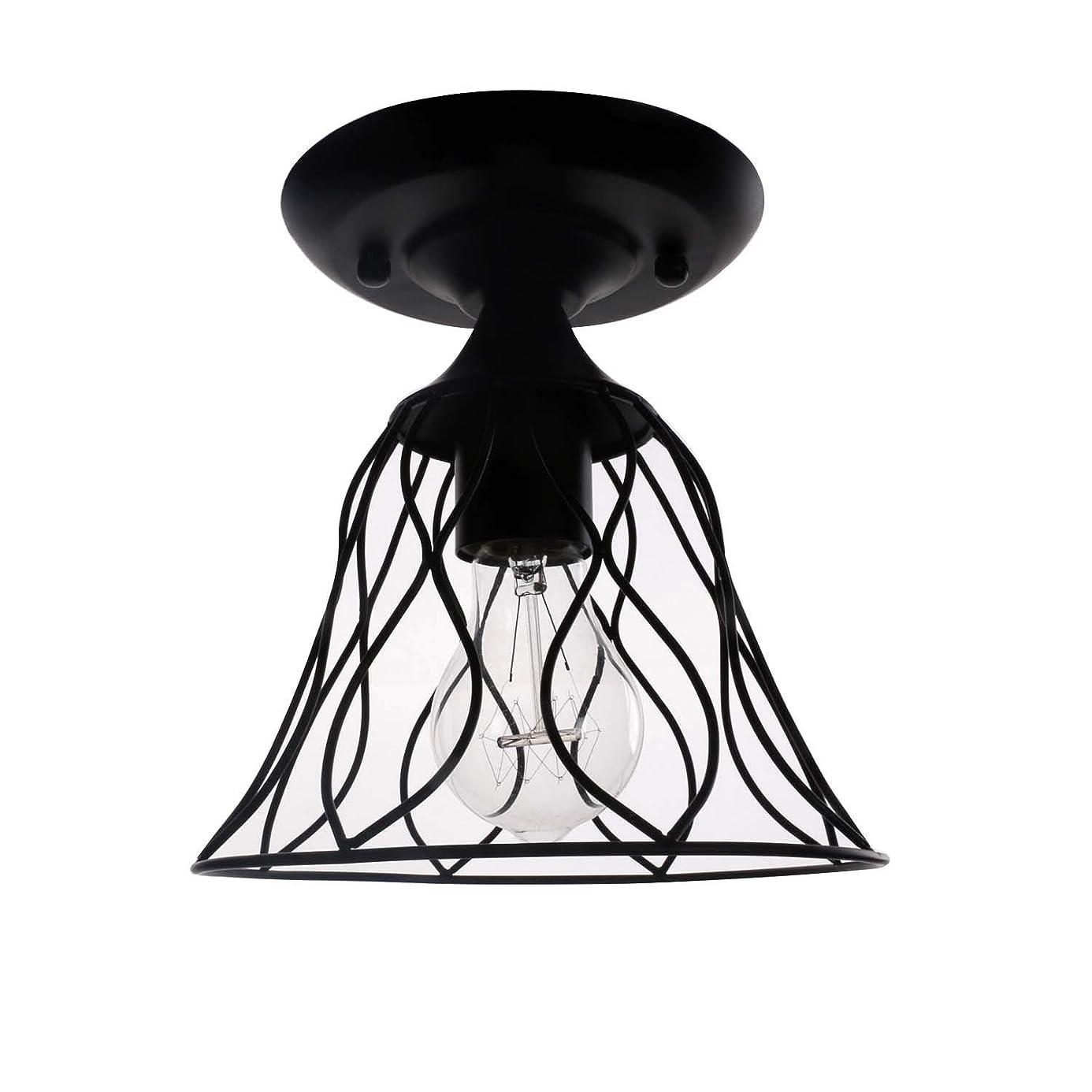FEE-ZC Iron Art Ceiling Ligh Black Horn Cage Shade Hanging Lamp Chandelier Modern Nordic Vintage Industry Pendant Light Indoor Cafe Corridor, Black