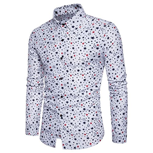 Hombres Moda Otoño/Invierno Tops, WINWINTOM Men's Impresión Tops Hombre de manga larga Slim Fit Business camisa casual (L, Blanco)