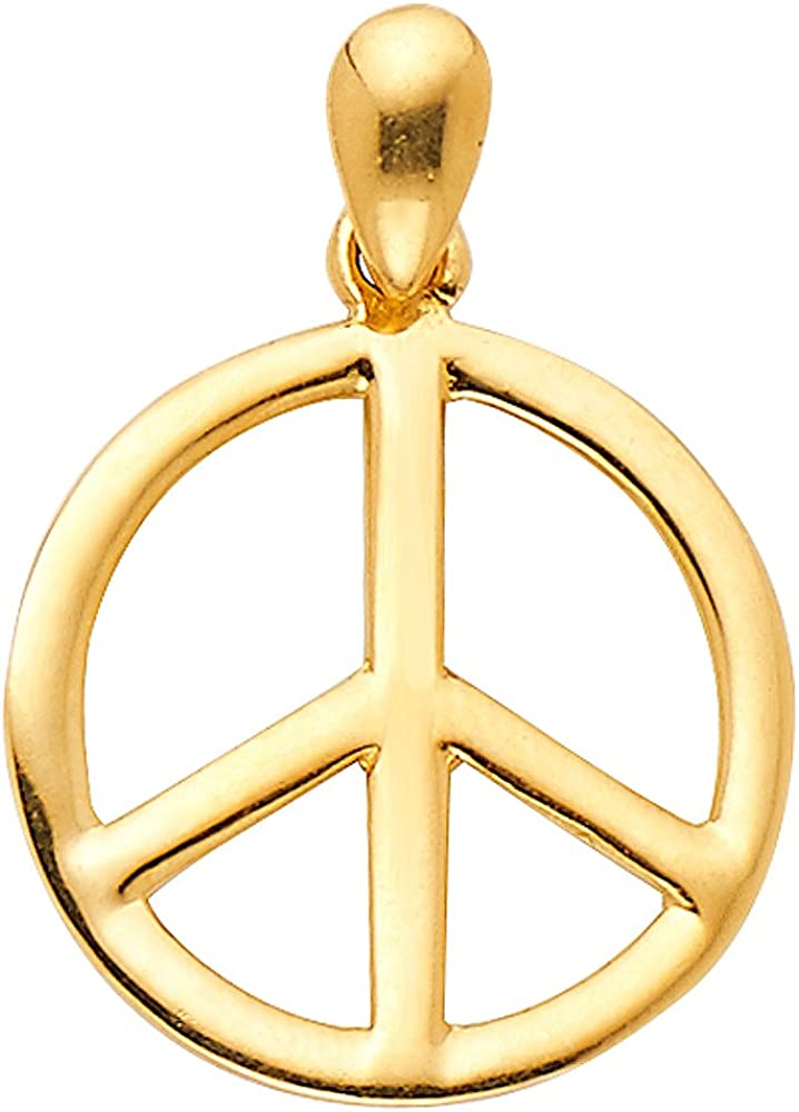 GoldenMine Fine Jewelry Collection 14k Yellow Gold Peace Sign CZ Charm Pendant