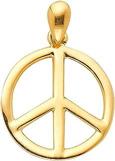 14k Yellow Gold Peace Sign Pendant