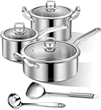 Sunfuny Cookware Set of 8 Pieces, Casserole Stock Pot, Saucepan, Skillet Frying Pan, Soup Ladle, Spatula,Stainless Steel Kitchen Cooking Pot Set with Lids
