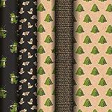 Clairefontaine 223836AMZC – Caja de 20 rollos de papel de regalo Kraft marrón, 100% reciclado, 5 m x 0 m35 (especial pequeño ancho), 70 g, motivos surtidos