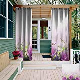 XXANS Rideau de fenêtre à œillets pour extérieur - Motif Floral Sauvage - Style Jardin - Isolant - pour Chambre à...