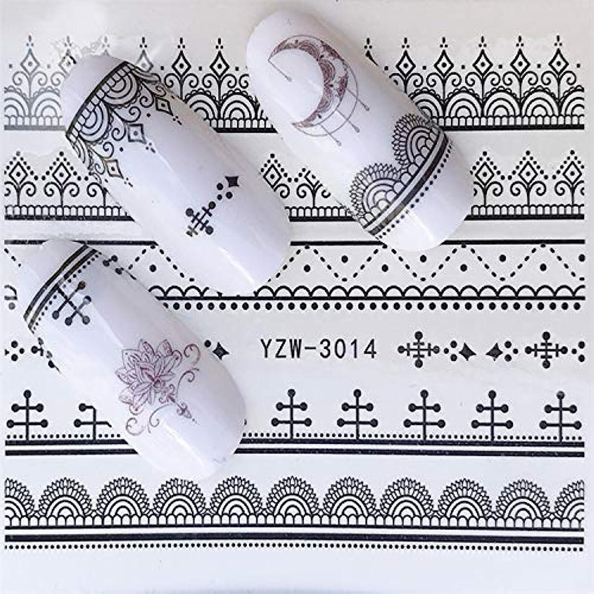 かび臭い見かけ上味付け手足ビューティーケア 3個ネイルステッカーセットデカール水転写スライダーネイルアートデコレーション(YZW3002) (色 : YZW3014)