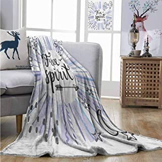 Degrees of Comfort Weighted Blanket Quote Watercolor Lettering Free Spirit Starburst Inspired Doodled Icons Stars Clouds Dots Full Blanket W60 xL80 Multicolor