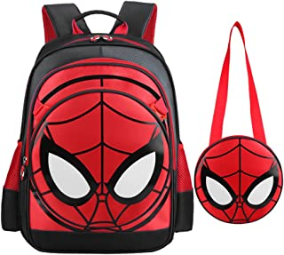 (One Size, Spiderman-Black) - Spiderman Backpack Boys Waterproof Comic School Bag with Lunch Kit (One Size, Spiderman-Black)